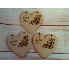 Laser Cut I Love you Rose Heart 65mm